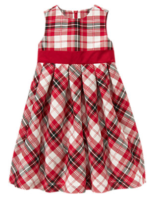Girls Holiday Red Plaid Plaid Duppioni Dress by Gymboree