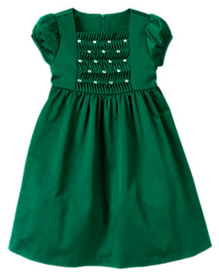 Girls Emerald Green Gem Smocked Taffeta Dress by Gymboree