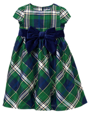 Midnight Blue Plaid Velvet Bow Plaid Duppioni Dress by Gymboree