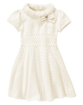 Ivory Faux Fur Collar Sweater Dress by Gymboree