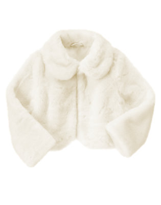 Ivory Faux Fur Crop Jacket by Gymboree