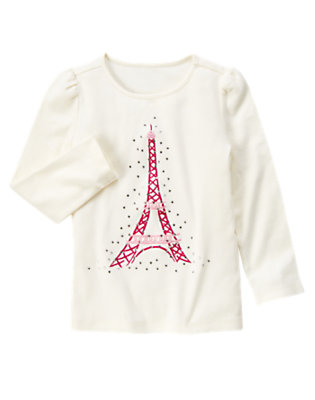 Ivory Rhinestone Eiffel Tower Tee by Gymboree
