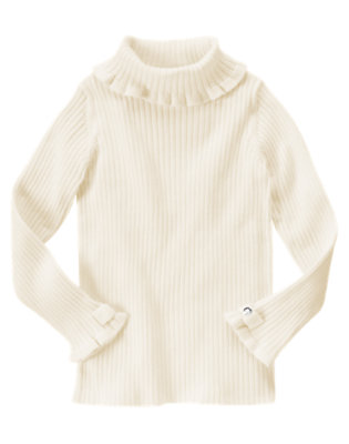 Ivory Gem Bow Turtleneck Sweater by Gymboree