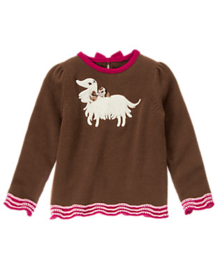Girls Coco Brown Dog Ruffle Sweater by Gymboree