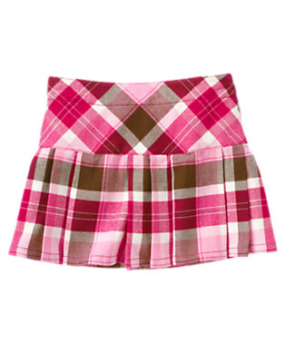 Girls Chic Pink Plaid Pleated Plaid Skort by Gymboree