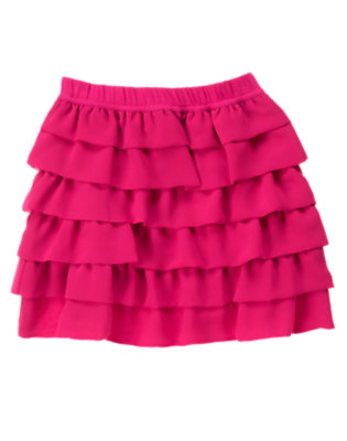 Girls Chic Pink Tiered Chiffon Skirt by Gymboree