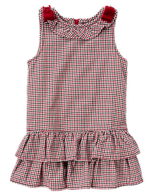 Girls Holiday Red Check Velvet Bow Checked Jumper by Gymboree