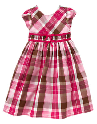 Girls Chic Pink Plaid Ribbon Plaid Dress by Gymboree