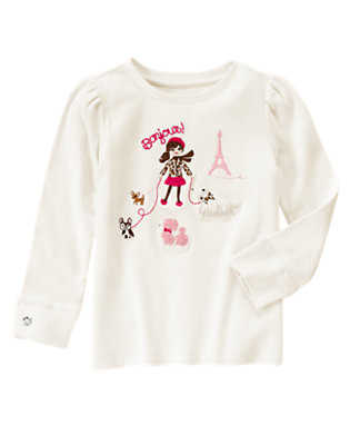 Ivory Parisian Girl & Dogs Tee by Gymboree