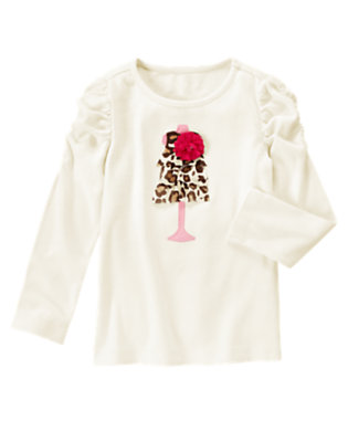 Ivory Gem Corsage Leopard Dress Tee by Gymboree