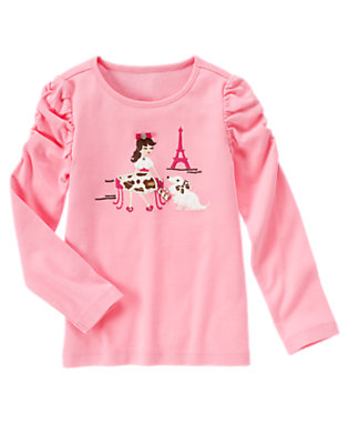 Poodle Pink Gem Paris Girl Tee by Gymboree