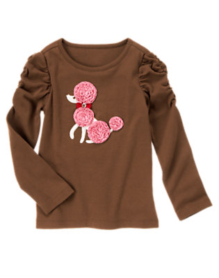 Coco Brown Gem Ruffle Poodle Tee by Gymboree