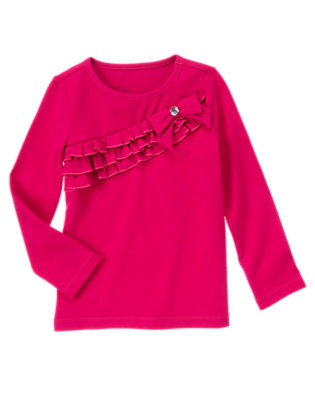 Chic Pink Gem Bow Ruffle Tee by Gymboree