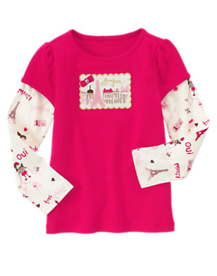 Chic Pink Paris Postcard Double Sleeve Tee by Gymboree
