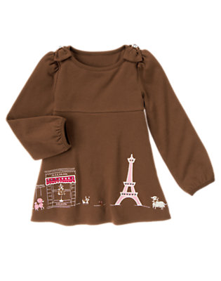 Coco Brown Parisian Dogs Swing Top by Gymboree