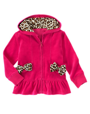Girls Chic Pink Leopard Bow Velour Hoodie by Gymboree