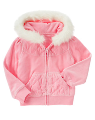 Girls Poodle Pink Faux Fur Velour Hoodie by Gymboree
