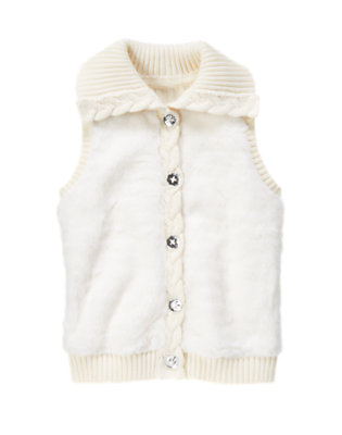Girls Ivory Faux Fur Vest by Gymboree