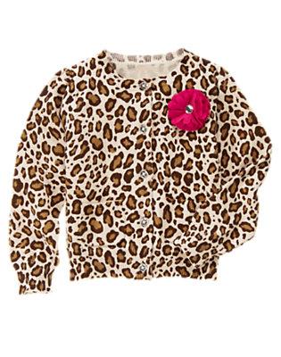 Girls Ivory Leopard Gem Corsage Leopard Cardigan by Gymboree