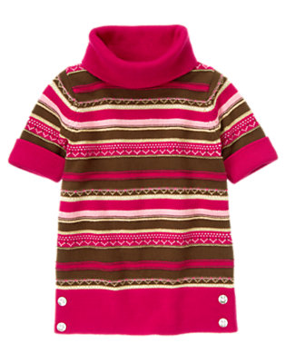 Girls Chic Pink Fair Isle Fair Isle Stripe Sweater Tunic by Gymboree