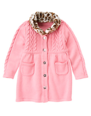 Girls Poodle Pink Faux Leopard Fur Sweater Coat by Gymboree