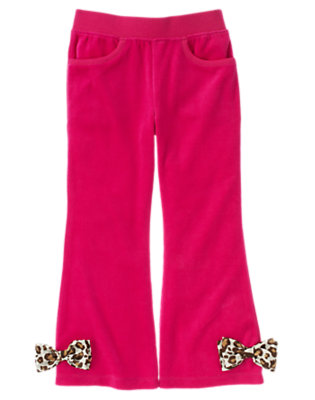 Girls Chic Pink Leopard Bow Velour Flare Pant by Gymboree