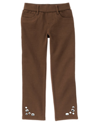 Coco Brown Gem Ponte Pant by Gymboree