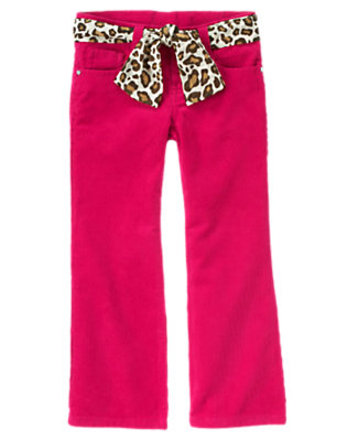 Girls Chic Pink Rhinestud Leopard Belt Corduroy Pant by Gymboree