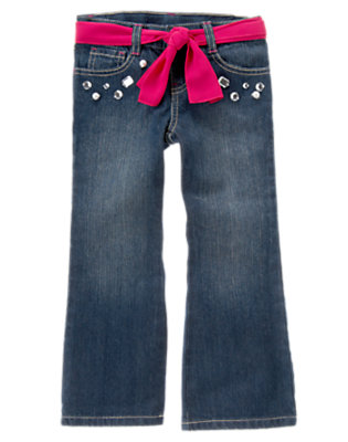 Girls Denim Pearl Gem Belted Bootcut Jean by Gymboree