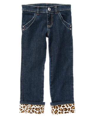 Girls Denim Rhinestud Leopard Cuff Jean by Gymboree