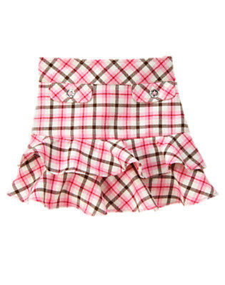 Poodle Pink Plaid Ruffle Plaid Skort by Gymboree