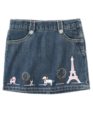 Girls Denim Gem Parisian Dogs Jean Skort by Gymboree