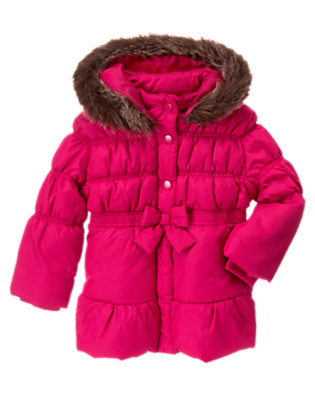 Chic Pink Faux Fur Hood Puffer Coat by Gymboree