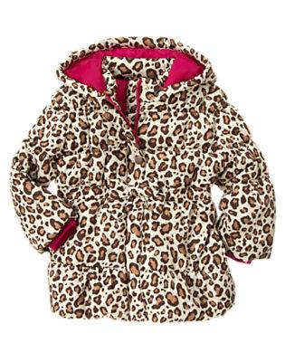 Girls Ivory Leopard Leopard Print Puffer Coat by Gymboree