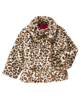 Ivory Leopard Faux Leopard Fur Coat by Gymboree