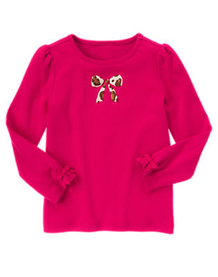 Chic Pink Embroidered Leopard Bow Tee by Gymboree