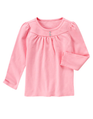 Poodle Pink Gem Button Tee by Gymboree