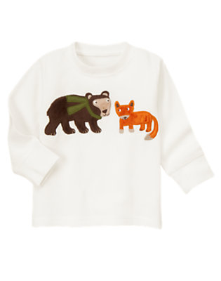 Ivory Bear & Fox Thermal Tee by Gymboree