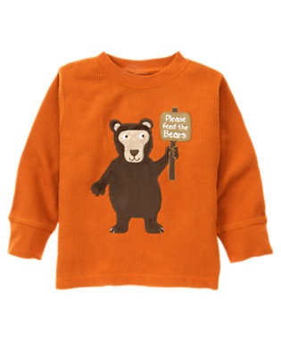 Toddler Boys Orange Bear Thermal Tee by Gymboree
