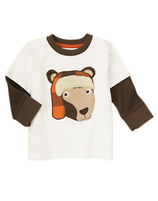 Ivory Bear Double Sleeve Tee by Gymboree