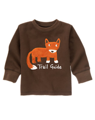 Chocolate Brown Fox Trail Guide Thermal Tee by Gymboree