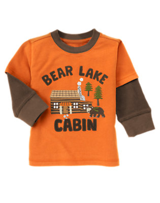 Orange Bear Lake Cabin Double Sleeve Tee by Gymboree