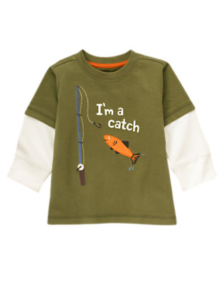 Dark Olive Green I'm A Catch Fishing Double Sleeve Tee by Gymboree