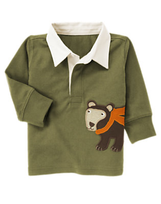 Dark Olive Green Bear Rugby Shirt by Gymboree