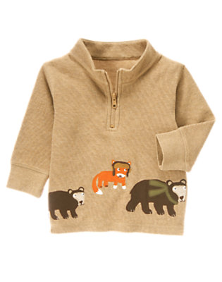 Tan Heather Wilderness Friends Pullover by Gymboree