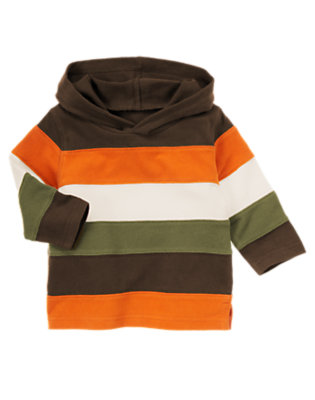 Toddler Boys Chocolate Brown Stripe Hooded Rugby Shirt by Gymboree
