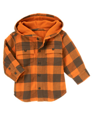 Toddler Boys Orange Check Plaid Flannel Hooded Shacket by Gymboree
