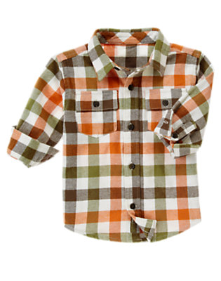 Ivory Check Plaid Flannel Shirt by Gymboree