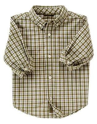Dark Olive Green Check Tattersall Shirt by Gymboree