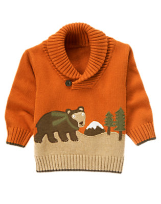 Toddler Boys Orange Bear Cabin Sweater by Gymboree